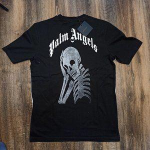 Palm Angels White&Black With Skull Print T-Shirt